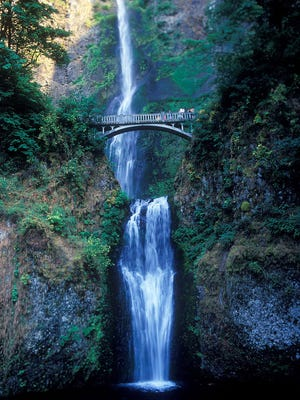 Multnomah Falls, Ore., is a rugged highlight of the Columbia River Gorge, but easy to visit off Interstate 84.