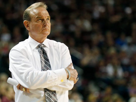 Mississippi State coach Vic Schaefer watches a replay