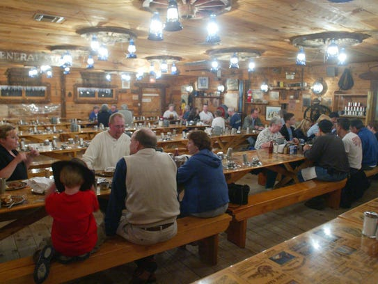 The Mining Camp Restaurant is 4 miles north up State