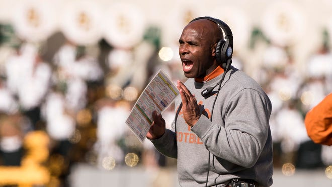Dec 5, 2015; Waco, TX, USA; Texas Longhorns head coach Charlie Strong yells to his team during the second half against the Baylor Bears at McLane Stadium. The Longhorns defeat the Bears 23-17. Mandatory Credit: Jerome Miron-USA TODAY Sports
