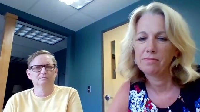 Melissa McKinstry (left), chairperson of the Right Door for Hope, Recovery and Wellness, and Chief Executive Officer Kerry Possehn speak to the Ionia County Board of Commissioners via Zoom at its meeting on Tuesday, July 14.