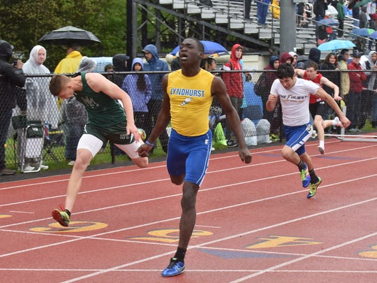 Teslim Olunlade of Lyndurst wins the 110-meter hurdles in Div. C, on the second day of Bergen Track championships on Saturday, May 12, in Old Tappan, NJ.