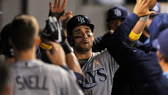 Tampa Bay Rays' Kevin Kiermaier celebrates with teammates in the dugout after scoring on a Logan Morrison single during the third inning of a baseball game against the Chicago White Sox, Friday, Sept. 1, 2017, in Chicago. (AP Photo/Paul Beaty)
