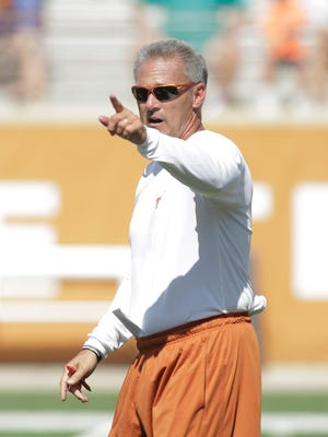 University of Texas Longhorn quarterbacks coach Shawn Watson during open football practice and fan day.