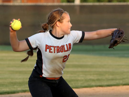 Petrolia's Kelsie Whalen throws to first against Albany