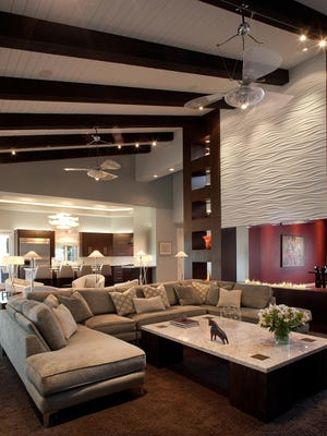 The fireplace wall is a showstopper in Keith Swart and Anne Dament's North Scottsdale home.