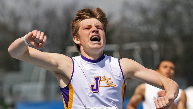 Johnston's Jack Bergstrom, shown here after winning the Drake Relays 400-meter hurdles last year, repeated as the champion to honor his grandfather, who died in October.