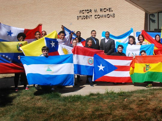 Union County Freeholder Vice Chairman Sergio Granados and Freeholder Mohamed S. Jalloh joined Union County College President Dr. Margaret McMenamin and students at the opening of the college's Hispanic Heritage Month and Hispanic Serving Institution Week Celebration at the Union County College Cranford campus.