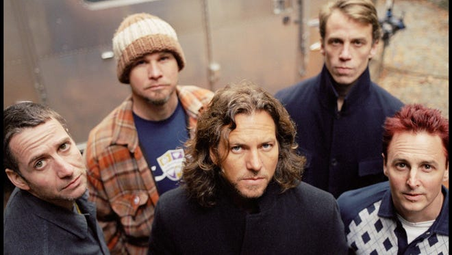 Pictured from left are the members of Pearl Jam: Stone Gossard, Jeff Ament, Eddie Vedder, Matt Cameron and Mike McCready. The band will be inducted into the Rock and Roll Hall of Fame in 2017.