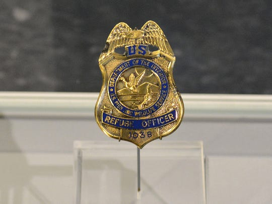 Rich Guadagno's U.S. Fish and Wildlife badge, No. 1038, is on display at the Flight 93 National Memorial in Pennsylvania.