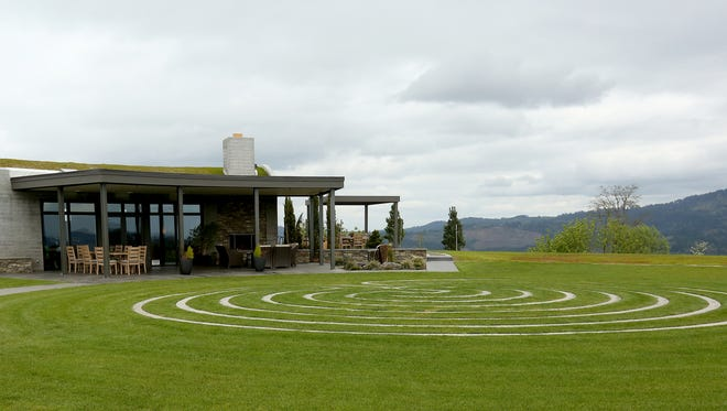 The tasting room and seven circuit labyrinth is seen at Fairsing Vineyard in Yamhill.