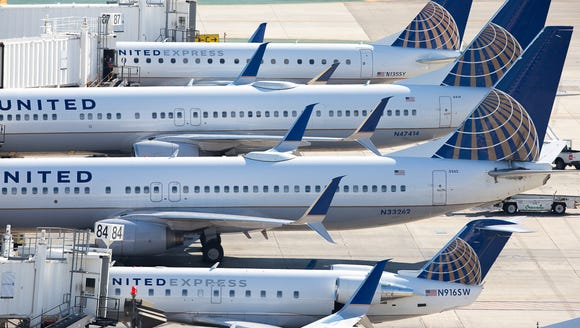 United Airlines jets line Terminal 7 at Los Angeles