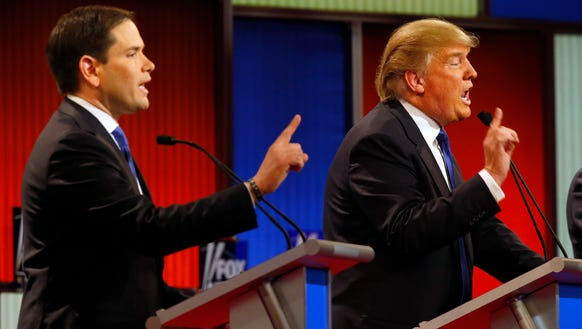 Marco Rubio and Donald Trump argue during the Republican