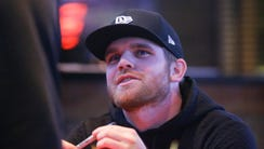 IndyCar driver Conor Daly chats with fans during a