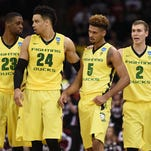 From left to right, Oregon's Elgin Cook, Dillon Brooks, Tyler Dorsey and Casey Benson, celebrate as the Pac-12's last remaining team in the NCAA tournament.