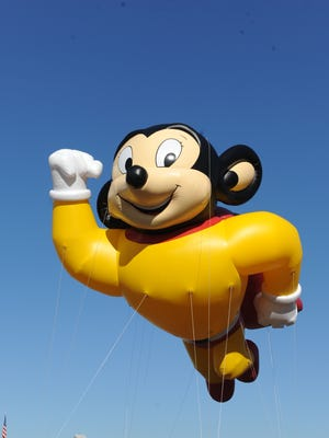 """Mighty Mouse will be one of the featured balloons floating through the air at New Rochelle's 53rd annual Thanksgiving Day parade.   complete with bands and giant helium balloons for each division including one in the likeness of hometown hero Might Mouse. The character, an American favorite, was created by Terry Toons studio, which called the city's historic """"K"""" building home from 1930-1971."""