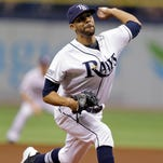 Tampa Bay Rays starting pitcher David Price delivers to the Milwaukee Brewers during the first inning of an interleague baseball game Wednesday, July 30, 2014, in St. Petersburg, Fla.