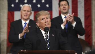 President Donald Trump reacts after addressing a joint session of Congress on Capitol Hill in Washington, Tuesday, Feb. 28, 2017. (Jim Lo Scalzo/Pool Image via AP)