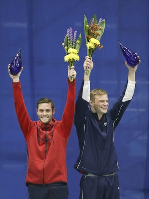 David Boudia and Steele Johnson celebrate making the 2016 USA Olympic Team after the10 Meter Platform Final at the IUPUI Natatorium on June 26, 2016.