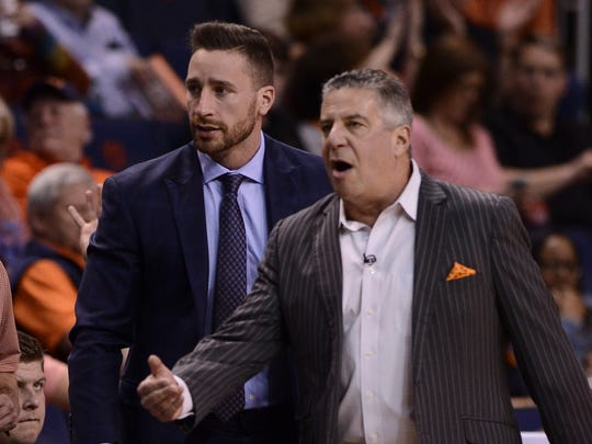 Steven Pearl and Bruce Pearl on the sidelines during an Auburn men's basketball vs Florida on Tuesday, Feb. 14, 2017, in Auburn, Ala. Steven Pearl was promoted by his father Bruce Pearl to a full-time assistant coach position on April 6, 2017.
