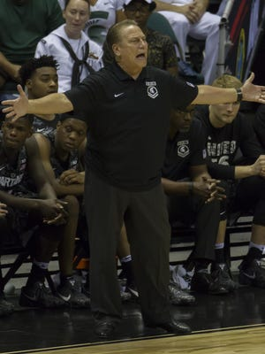 Michigan State head coach Tom Izzo disagrees with a game official's call in the second half at the Armed Forces Classic, Friday, Nov. 11, 2016 in Honolulu.