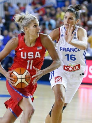 2016: USA's Elena Delle Donne drives against France's Helena Ciak in the second half of an exhibition game at the Bob Carpenter Center Wednesday.