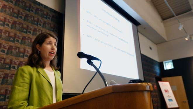 Dr. Sarah Smith, Content Marketing Specialist  for Drury, unveils the results of a new study examining volunteerism in the Ozarks on Tuesday, June 21, 2016.