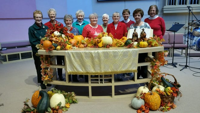 Covenant United Methodist Church members will host the Sugarplum Cookie Walk from 10 a.m. to noon on Sunday, Dec. 17 in Fellowship Hall. Pictured are helpers, from left: Marilyn Stillings, Donna Born, Eleanor King, Carol Sadler, Cathy Morris, Nina Krueger, Dea Hebel, Jan Andrews, Susan Rimel and Marge Miller.