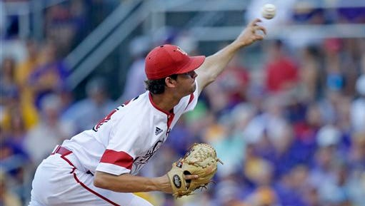 UL pitcher Gunner Leger throws  during his NCAA Baton Rouge Super Regional start at LSU in 2015.