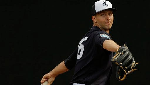 New York Yankees relief pitcher Chasen Shreve works in the bullpen before a spring training baseball game against the Philadelphia Phillies Thursday, March 3, 2016, in Tampa, Fla. (AP Photo/Chris O'Meara)