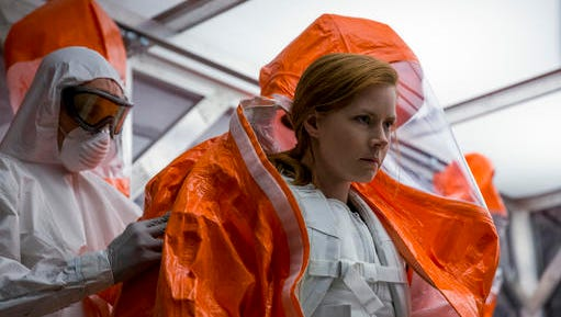 """This image released by Paramount Pictures shows Amy Adams in a scene from """"Arrival."""""""