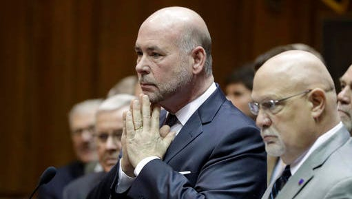 Speaker of the House Brian Bosma, R-Indianapolis, listens to a question during a news conference in the House chamber at the Statehouse, Wednesday, Jan. 4, 2017, in Indianapolis. The House Republicans unveiled their agenda for this year's legislative session, including their plan to fund infrastructure improvements across Indiana for years to come. (AP Photo/Darron Cummings)