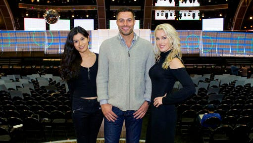 This Feb. 9, 2017 photo shows trophy presenters, from left, transgender model Martina Robledo, actor and model Derek Marrocco, and model and actress Hollin Haley in Los Angeles. The trio will present awards during the 59th Annual Grammy Awards airing live, Sunday, Feb. 12, on CBS.