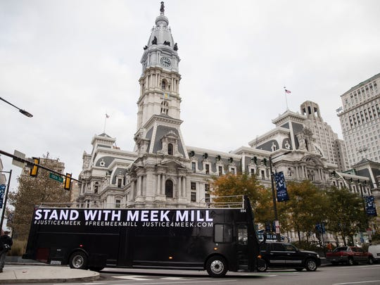 A bus with a message of support for Meek Mill at City