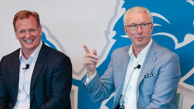 Detroit Lions president Rod Wood answers a question during the team's Fan Forum at the Comerica Gridiron Club in Ford Field in Detroit, Tuesday, Aug. 22, 2017. At left is NFL commissioner Roger Goodell.