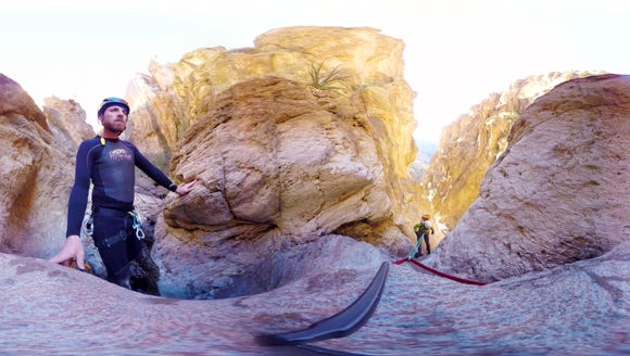 A frame grab from the 360-degree virtual reality video
