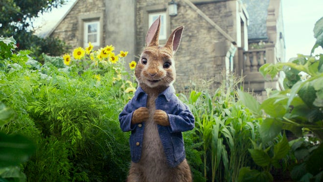 Peter Rabbit, voiced by James Corden, from a scene in the recently released movie 'Peter Rabbit.'