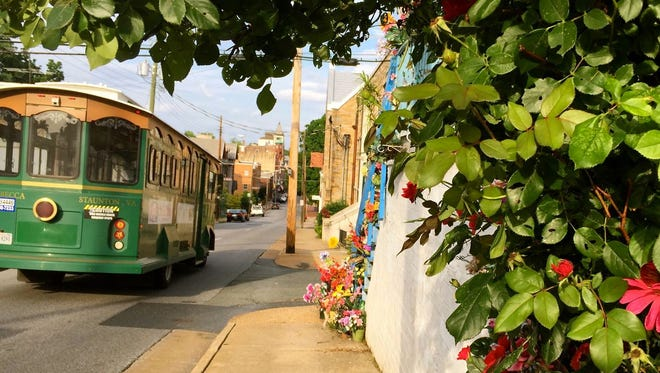The iconic Staunton trolley rolls up West Beverley Street on a recent late summer afternoon.