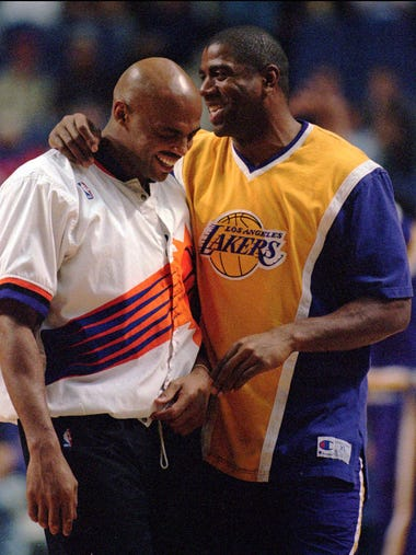 Phoenix Suns' Charles Barkley, left, and Los Angeles