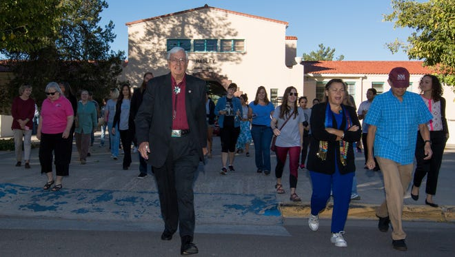 NMSU President Garrey Carruthers leads the President's Walk to celebrate Exercise Is Medicine on Campus on Wednesday, October 19, 2016.