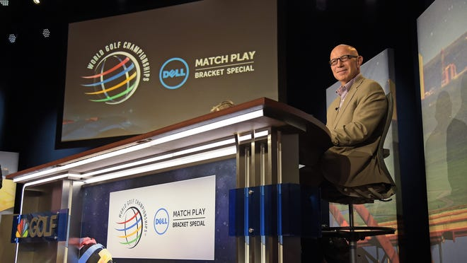 Tim Rosaforte waits to start the show during the live broadcast of the Dell Match Play Bracket Special at the Paramount Theater prior to the World Golf Championships - Dell Match Play at Austin Country Club on March 21, 2016 in Austin, Texas.  Roseforte is battling Alzheimer's disease.