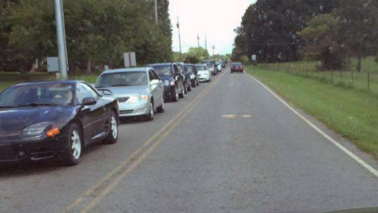 Traffic backs up on King Road as Fairview High School dismisses classes due to the campus construction project.