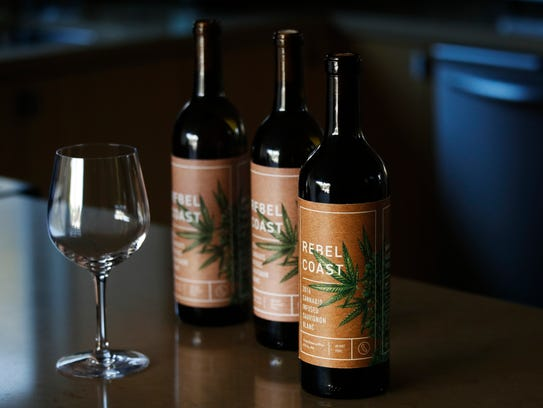 Three bottles of Rebel Coast Winery's cannabis-infused