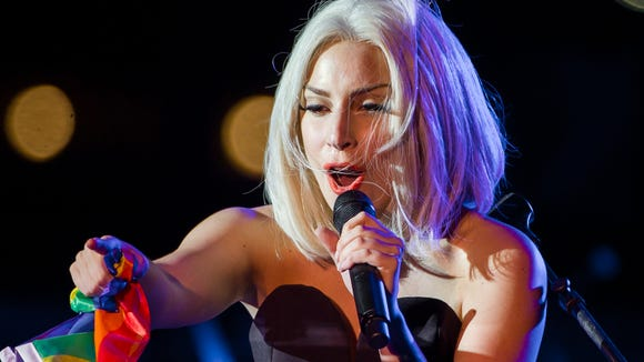 Gaga's performed with a rainbow flag before. Here,