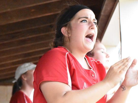 Fannett-Metal's Brooke Harris cheers in the dugout