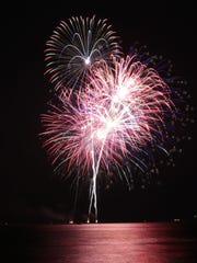 Fireworks create a pattern near King Park Monday July 4, 2016 in Sheboygan.