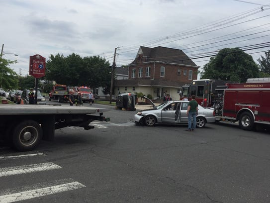 An accident Tuesday in Somerville resulted in an SUV