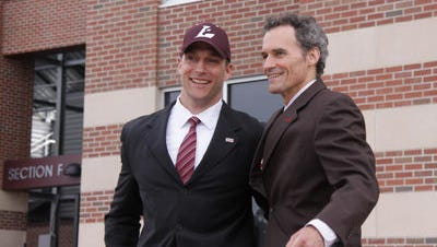 Harrison graduate Josh Whitman, shown here after being named Director of Athletics at Wisconsin-Lacrosse in 2010, was named to the same position at Washington University in St. Louis, Mo., on June 4, 2014.
