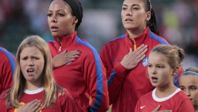 Hope Solo, right, played for the Americans in their exhibition match last month in Rochester, a 4-0 win over Mexico.