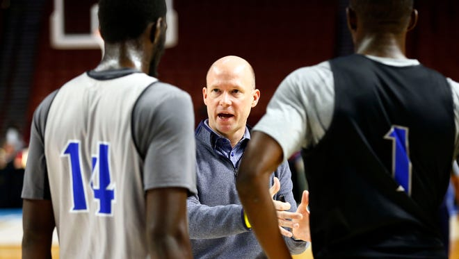 Seton Hall coach Kevin Willard (center) now has another talented forward to join Ish Sanogo (14) and Michael Nzei (1) next season.